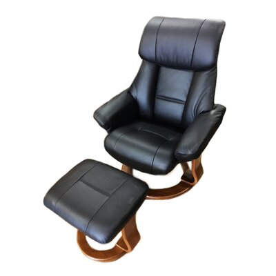 Alfredo Leather Manual Swivel Recliner with Ottoman Color: Black
