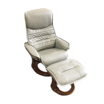 Veo Leather Manual Swivel Recliner with Ottoman Upholstery: Grey