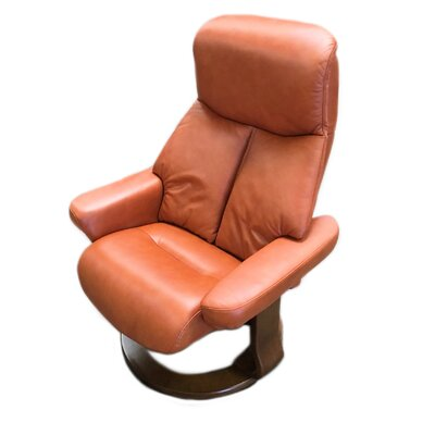 Leone Leather Manual Swivel Recliner with Ottoman Color: Cognac