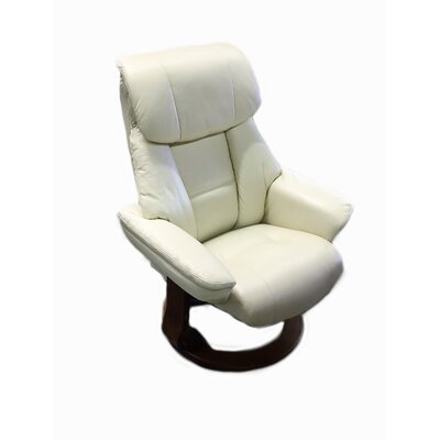 Alfredo Leather Recliner and Ottoman Finish: Ivory