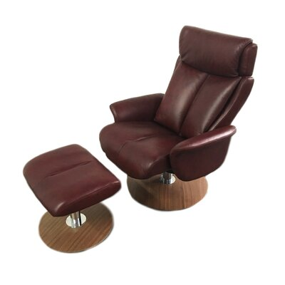 Sapphire Leather Manual Swivel Recliner with Ottoman Upholstery: Brown