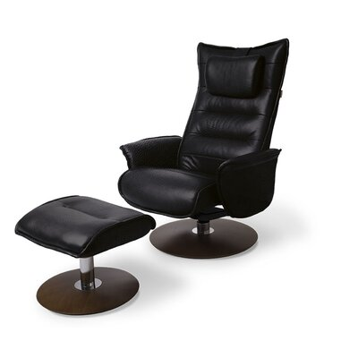 Trento Leather Recliner and Ottoman Upholstery: Black