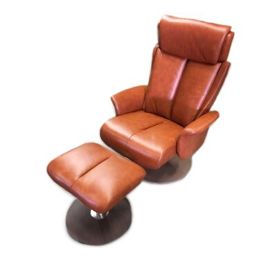 Sapphire Recliner and Ottoman Upholstery: Cognac