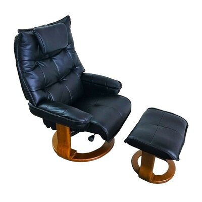 Hana Leather Manual Swivel Recliner with Ottoman Upholstery: Rolls Royce Black