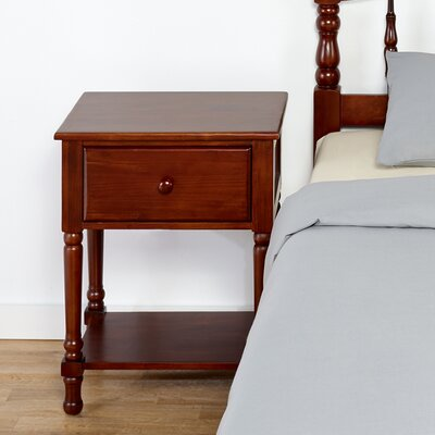 Traditional Style Wood Nightstand in Cherry Finish