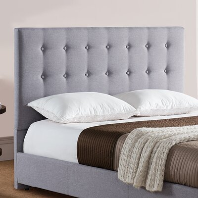 Stratford Upholstered Panel Headboard Size: Full/Queen, Color: Gray
