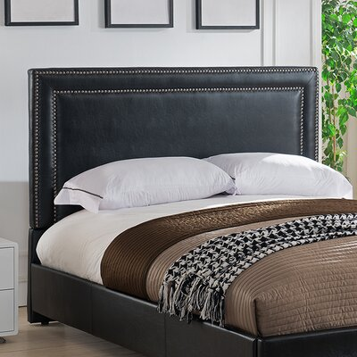 Baffin Upholstered Panel Headboard Size: Full/Queen, Color: Black