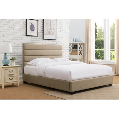 Penwell Upholstered Platform Bed Color: Beige, Size: Queen
