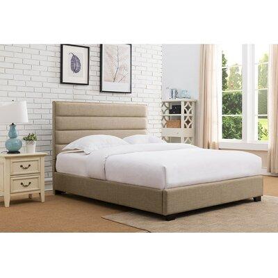 Penwell Upholstered Platform Bed Color: Beige, Size: King