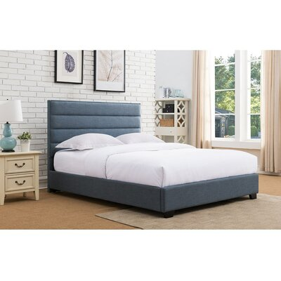 Penwell Upholstered Platform Bed Color: Blue, Size: Queen