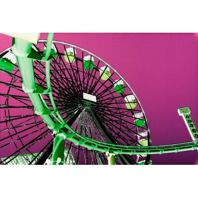 Fluorescent Ferris Wheel Graphic Art on Canvas Size: 24