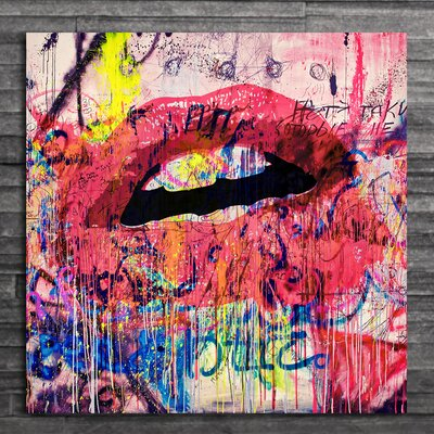 'Acrylic Lips' Graphic Art on Wrapped Canvas Size: 12