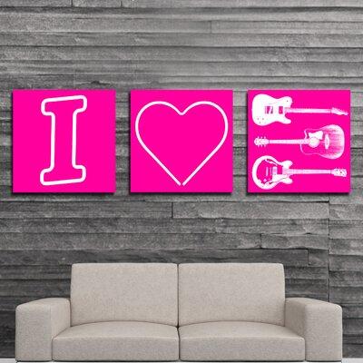 I Heart Guitars 3 Piece Graphic Art on Canvas Set FF057A