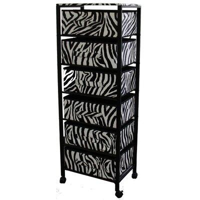 Ore Zebra Print 6 Drawer Rack on Wheels