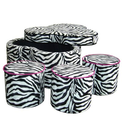 Zebra Storage Ottoman with Seating
