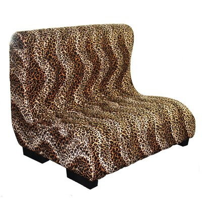 Upholstered Plush Leopard Tufted Dog Bed