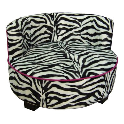 Upholstered Zebra Print Round Dog Bed