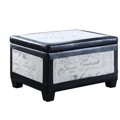 Quaniece Wood Accent Trim Storage Ottoman