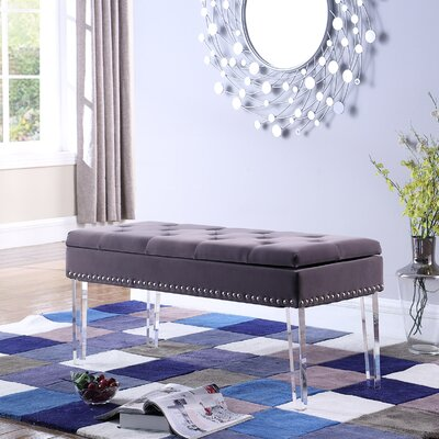 Esmeyer Tufted Mid-Century Nailhead Trim Upholstered Storage Bench Upholstery: Brown