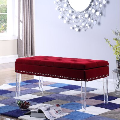 Esmeyer Tufted Mid-Century Nailhead Trim Upholstered Storage Bench Upholstery: Red