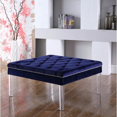 Fairhills Diamond Tufted Coffee Table Table Top Color: Navy/Blue
