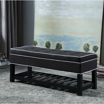 Chastain Piping Tufted Shoe Upholstered Storage Bench Upholstery: Charcoal Gray