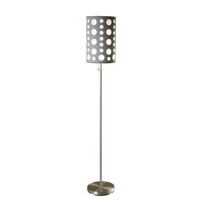 Ore Retro Floor Lamp - Outer Shade Color: Grey, Inner Shade Color: White