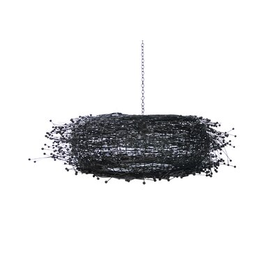 Lotus 1-Light Drum Pendant Color: Black