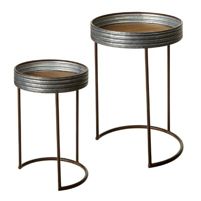 Elsworth Galvanized Round 2 Piece Nesting Tables