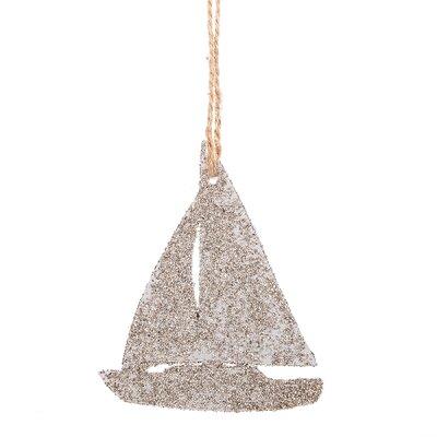 Glittered Sailboat Hanging Figurine