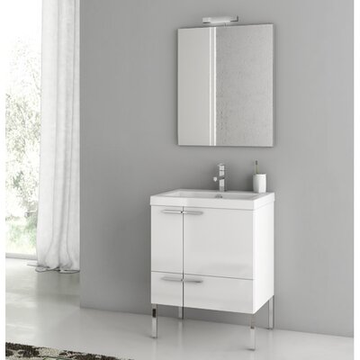New Space 23.4 Single Bathroom Vanity Set with Mirror Base Finish: Glossy White
