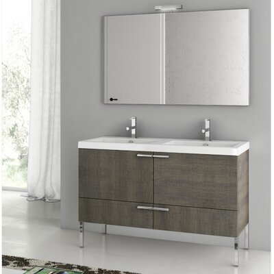 New Space 47 Bathroom Vanity Set with Mirror Base Finish: Gray Oak Senlis