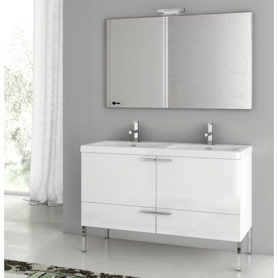 New Space 47 Bathroom Vanity Set with Mirror Base Finish: Glossy White