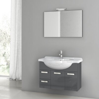 Phinex 31.5 Single Bathroom Vanity Set with Mirror Base Finish: Glossy Anthracite