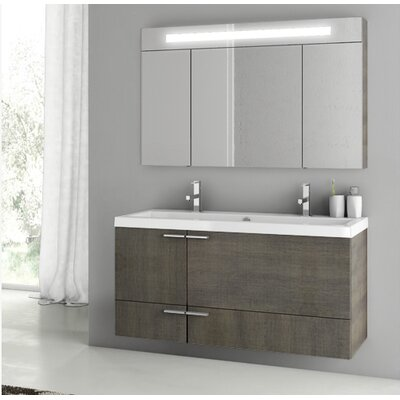 New Space 47 Double Bathroom Vanity Set with Mirror Base Finish: Gray Oak Senlis