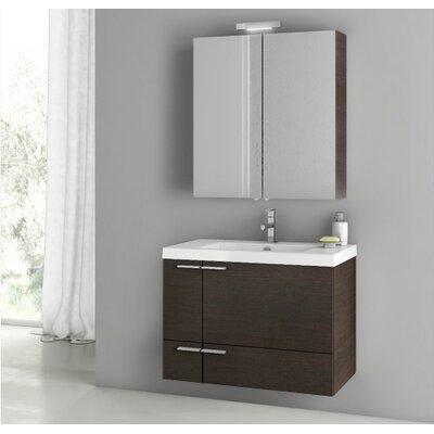 New Space 31.3 Single Bathroom Vanity Set with Mirror Base Finish: Wenge