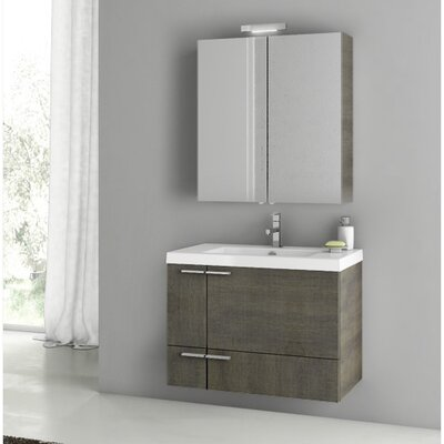 New Space 31.3 Single Bathroom Vanity Set with Mirror Base Finish: Gray Oak Senlis