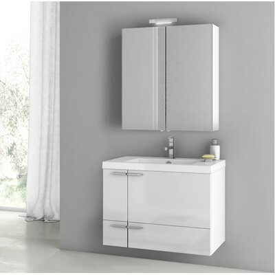 New Space 31.3 Single Bathroom Vanity Set with Mirror Base Finish: Glossy White
