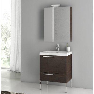New Space 23.4 Single Bathroom Vanity Set with Mirror Base Finish: Wenge