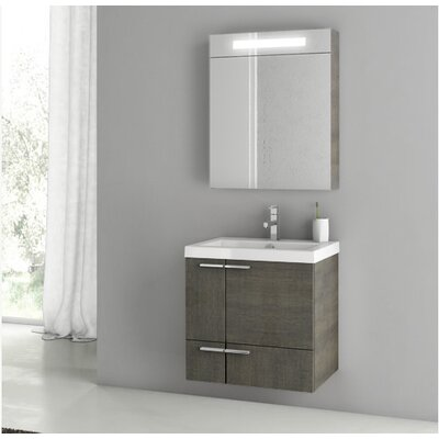New Space 23.4 Single Bathroom Vanity Set with Mirror Base Finish: Gray Oak Senlis