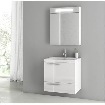 New Space 23.4 Single Bathroom Vanity Set with Mirror Base Finish: Larch Canapa