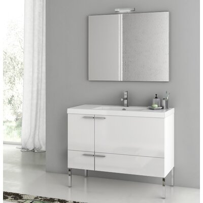 New Space 39.2 Single Single Bathroom Vanity Set with Mirror Base Finish: Larch Canapa
