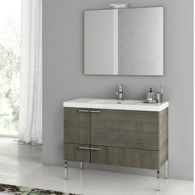 New Space 39.2 Single Single Bathroom Vanity Set with Mirror Base Finish: Gray Oak Senlis