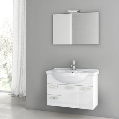 Phinex 31.5 Single Bathroom Vanity Set with Mirror Base Finish: Glossy White