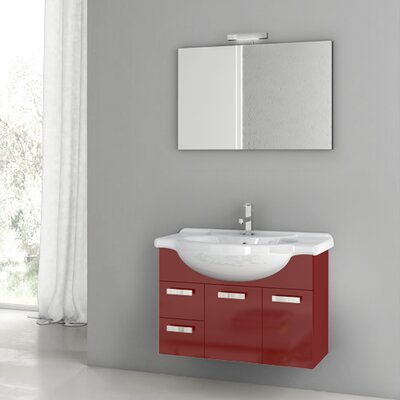 Phinex 31.5 Single Bathroom Vanity Set with Mirror Base Finish: Glossy Red