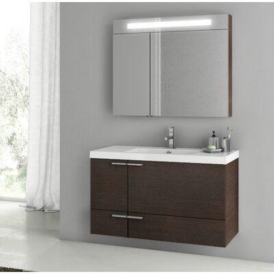 New Space 39.2 Single Bathroom Vanity Set with Mirror Base Finish: Wenge