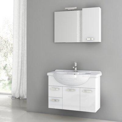 Phinex 31.5 Single Bathroom Vanity Set with Mirror Base Finish: Glossy White