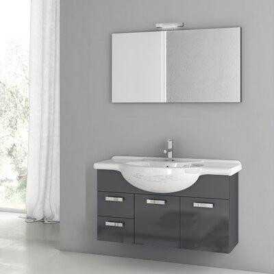 Phinex 39.4 Single Bathroom Vanity Set with Mirror Base Finish: Glossy Anthracite