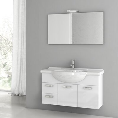 Phinex 39.4 Single Bathroom Vanity Set with Mirror Base Finish: Glossy White