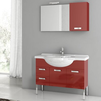 Phinex 39.4 Single Bathroom Vanity Set with Mirror Base Finish: Glossy Red